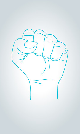 Raised Fist on White Background. Claw sign hand gesture in thin line style.