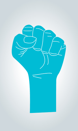 Silhouette of Raised Fist on White Background. Claw sign hand gesture.