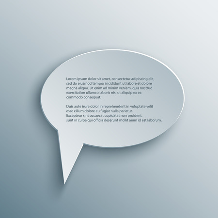 Paper Cutout round speech bubble with shade in 3d and origami style. Ilustrace