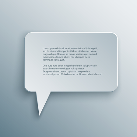 Paper Cutout square speech bubble with shade in 3d and origami style.