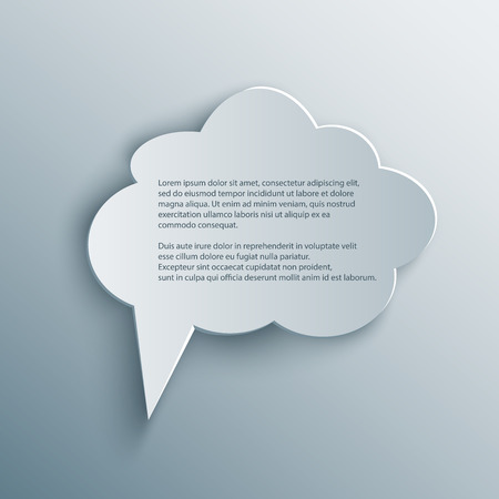 Paper Cutout cloud speech bubble with shade in 3d and origami style.