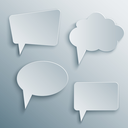 paper cutout: Set of Paper Cutout cloud speech bubbles with shade in 3d and origami style.