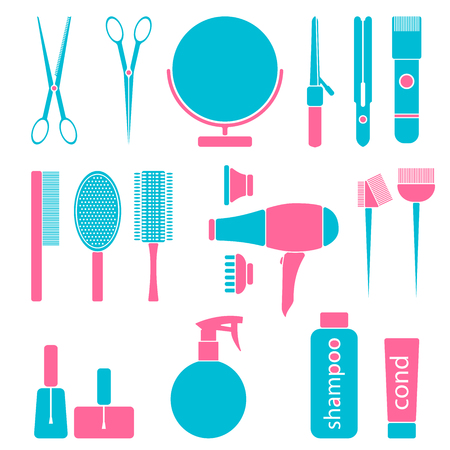 styling: Beauty salon tools. Hairdresser styling accessories. Professional haircut icon set. Isolated vector illustration Illustration