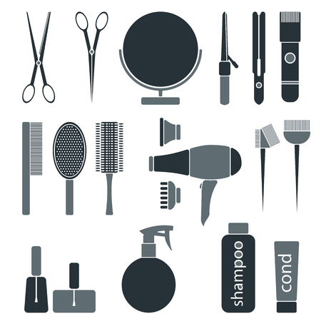 drier: Beauty salon monochrome icon set. Hairdresser styling accessories. Professional haircut tools. Isolated vector illustration