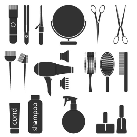 styling: Beauty salon monochrme tools. Hairdresser styling accessories. Professional haircut icon set. Isolated vector illustration Illustration