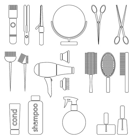 coiffeur: Beauty salon thin line icon set. Hairdresser styling accessories. Professional haircut tools. Isolated vector illustration
