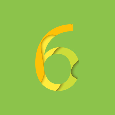 original single: Number six design template element. Figure 6 vector logo, icon and sign in material design style. Illustration