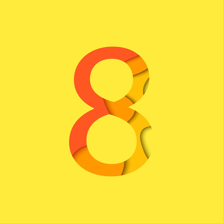 original single: Number eight design template element. Figure 8 vector logo, icon and sign in material design style.