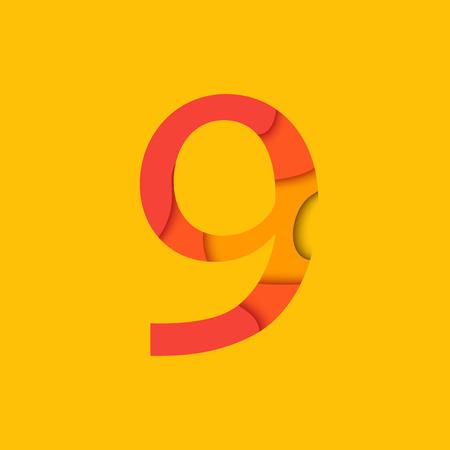 numero nueve: El número nueve elemento de diseño de la plantilla. Figura 9 vector logo, icono y cartel en el estilo de diseño de materiales.