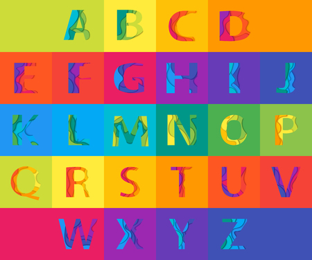 alphabetic: Vector colored Paper Graphic Alphabet Set. Material 3d layered alphabetic font. Vector eps10 illustrator. Illustration
