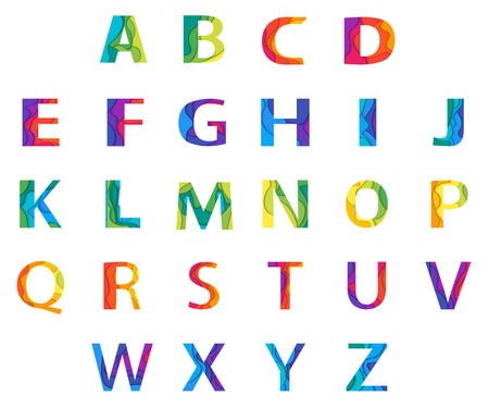 paper graphic: Vector colored Paper Graphic Alphabet Set. Material 3d layered alphabetic font on white background. Vector eps10 illustrator. Illustration