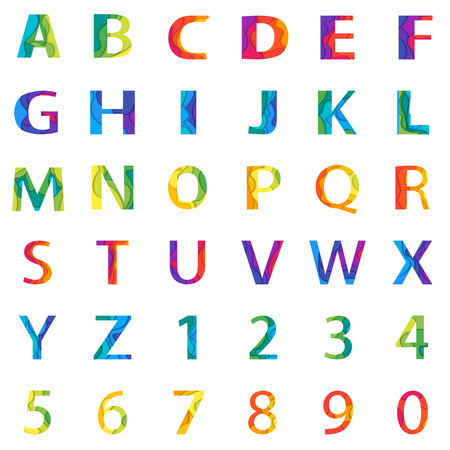 alphabetic: Vector colored Alphabet Set with numbers. Material 3d layered alphabetic font. Vector eps10 illustrator. Illustration