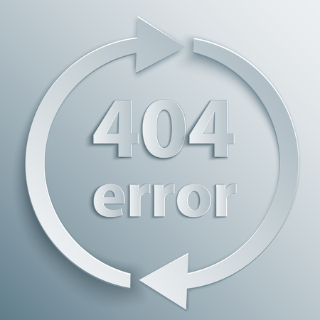 page not found: 404 page not found template with two reboot round arrows in 3d, paper and origami style.