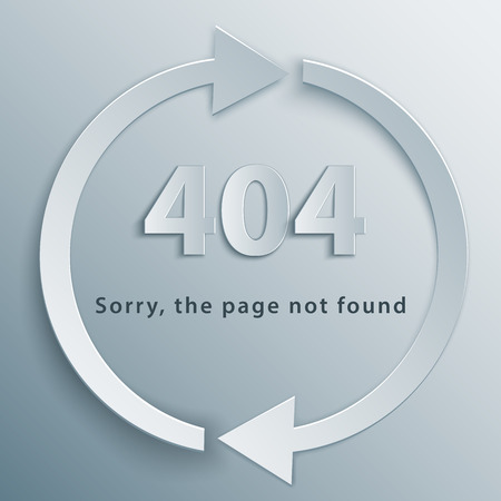 404 page not found template with two reboot round arrows in 3d, paper and origami style.