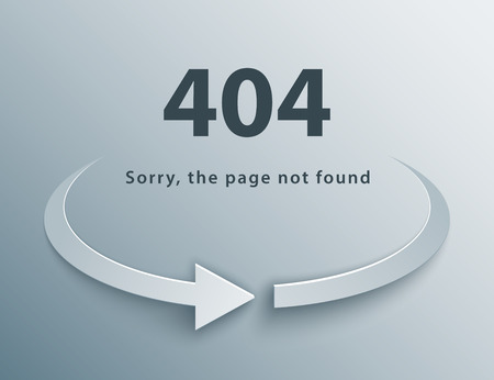 404 page not found template with reboot round arrow in 3d, paper and origami style. Ilustrace