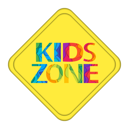 day care: Kids Zone yellow traffic sign. Colorful vector illustration for playground, child or day care isolated on white background.