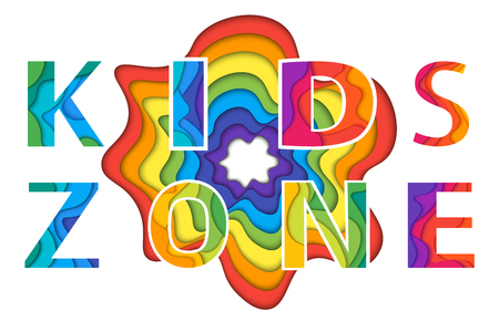 day care: Kids Zone with rainbow blot. Colorful vector illustration for playground, child or day care isolated on white background.