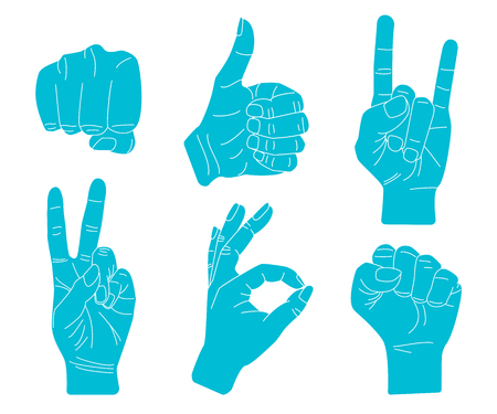 Hand gestures silhouettes. Set of vector symbols and icons.