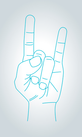 rock n: Devil horns gesture. Metal Hand in thin line style. Rock n roll sign. Vector illustration. Illustration