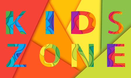 Kids Zone lettering mockup. Vector illustration for playground, child or day care isolated on colorful background. Ilustrace
