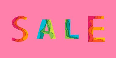 Sale letters o pink background. Vector illustration.
