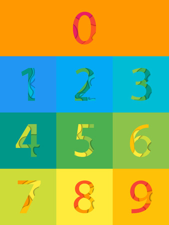 Vector colored numbers Set. Material 3d layered