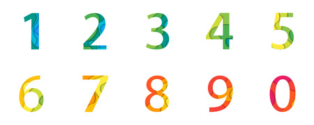 Vector abstract numbers Set. Material 3d layered