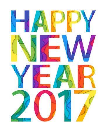 Happy new year 2017 lettering design. Vector illustration.