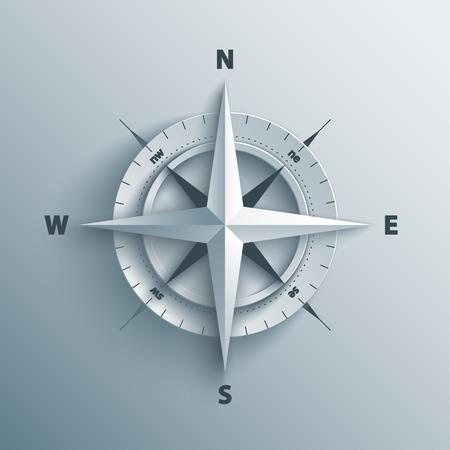 Carta Rosa dei venti in 3d e origami stile. Moderna bussola icona.
