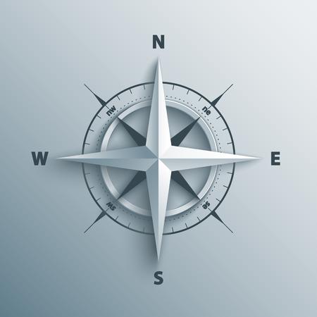 Paper wind nam in 3D en origami stijl. Moderne illustratie kompaspictogram.