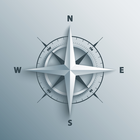 Paper Wind rose in 3d and origami style. Modern compass icon illustration. Фото со стока - 61128661