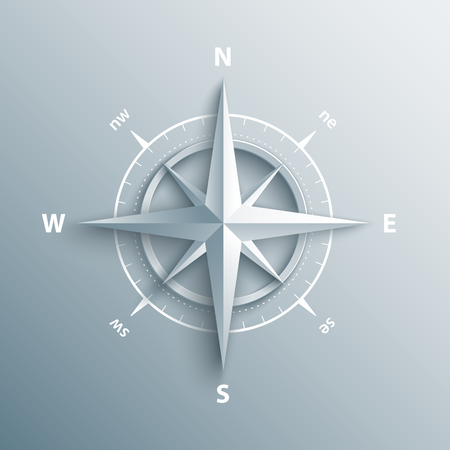 rosa vientos: Paper Wind rose in 3d and origami style. Modern compass icon illustration.