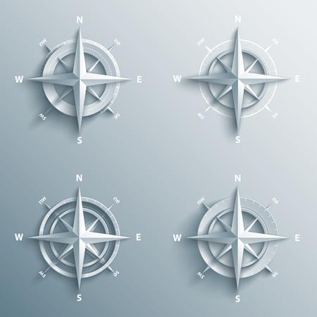 Set di rose dei venti 3d in carta e stile origami. Bussola moderna e stelle icona. Vettoriali
