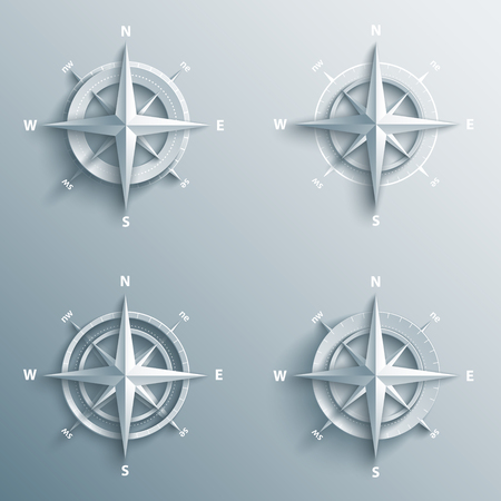 Set of 3d wind roses in paper and origami style. Modern compass and star icon illustration.