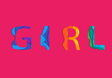 Girl word and lettering mockup on pink background. Colored graphic material layered design element.
