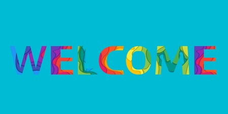 The word sign Welcome. banner with the text colored rainbow in material design style.