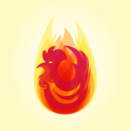 flamy: Silhouette of red cock in flame. Chinese calendar for year of fiery rooster 2017. Illustration