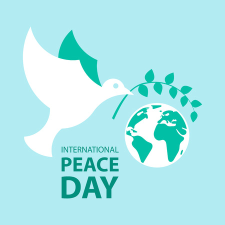 Peace dove with olive branch and planet earth for International Peace Day poster. Ilustrace