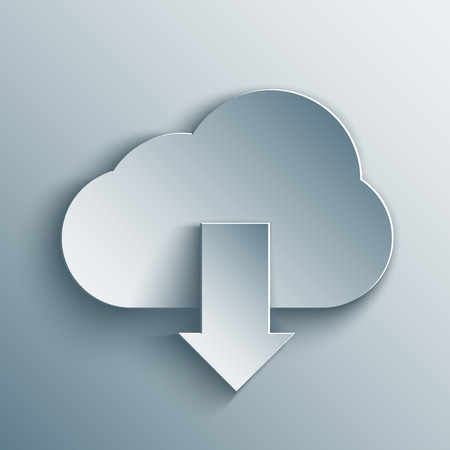 Cloud download in 3d, paper and origami style. Ilustrace