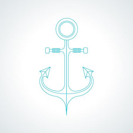 Simple nautical anchor isolated on white background. Modern thin line armature icon illustration. Ilustrace