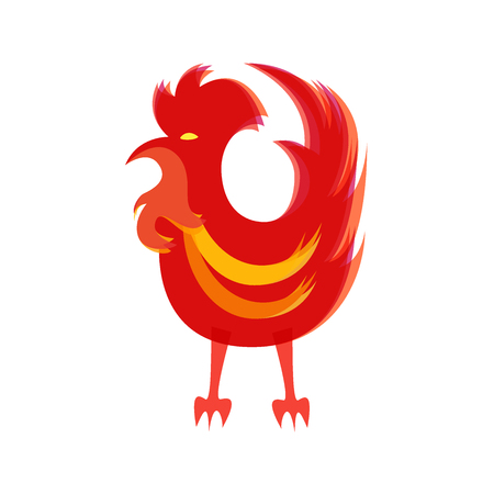 Silhouette of red cock. Chinese calendar for year of fiery rooster 2017.