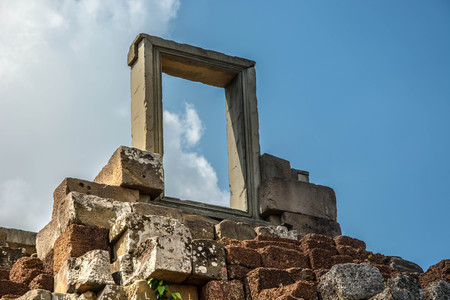Door to heaven at the top of stepping stones. An icon of steps to success. An icon of steps to heaven. Stock Photo