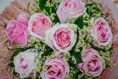 Rose bouquet de rose et ruban fond Banque d'images - 93656493