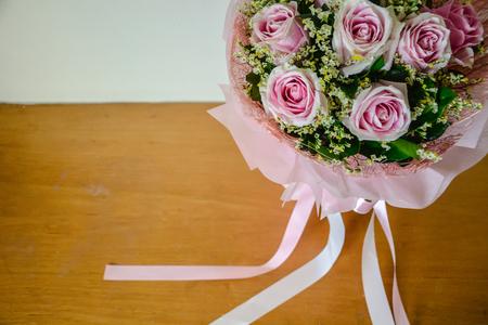 Fond de bouquet et ruban rose rose Banque d'images - 93897570