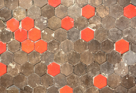 Vintage red dots beehive wall and floor tile design pattern.