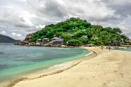 Peaceful and beautiful beach landscape with sand and clear turquoise sea, Koh Nangyuan, Thailand