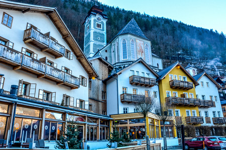 Beautiful and lively historical town by the Lake Hallstatt , Austria, Europe