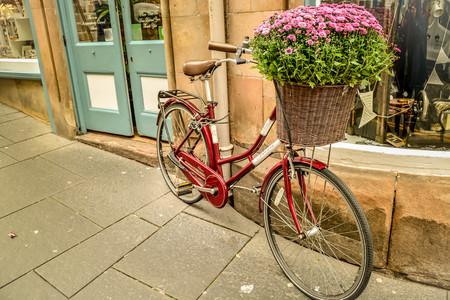 Vélo rouge avec plein de fleurs dans le parc avant devant le bâtiment devant la vieille façade du bâtiment Banque d'images - 93145192