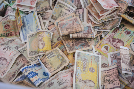 Vietnamese Dong Bank notes background. Vietnamese currency background. Vietnamese financial icon