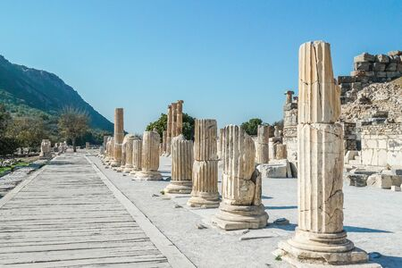The ruined of the ancient city of Ephesus, Selcuk, Turkey Banque d'images - 134462374